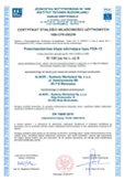 CE Certificate Fire dampers type FDA-12 and FDA2-12