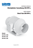 User's Manual - Duct fan DV-PP-L